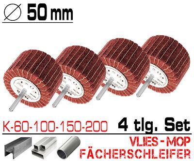 4 tlg Schleifmop Vlies Mop Lamellen Walze Fächer Schleifer Set Ø 50mm K60 - K200