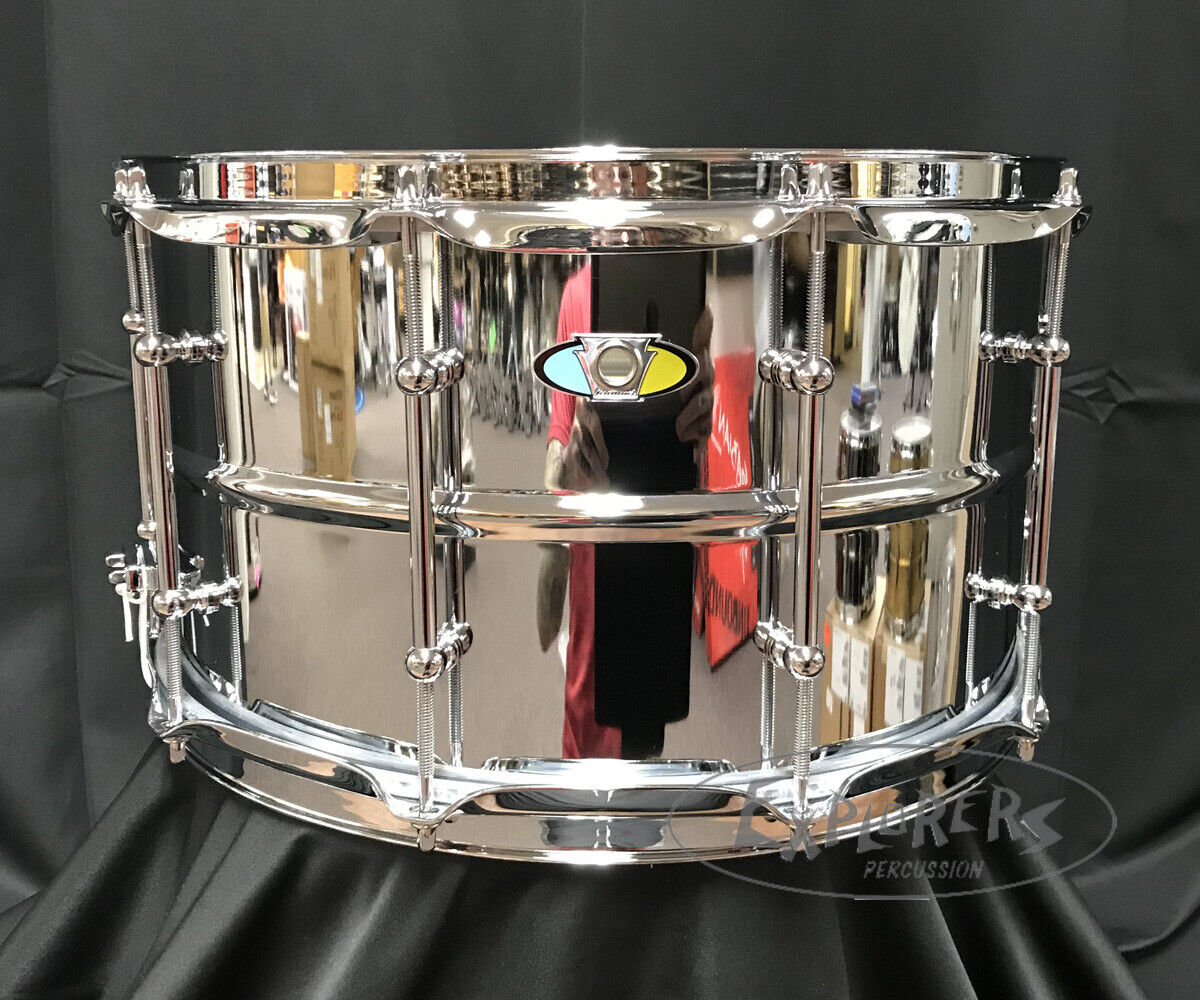 Photo Ludwig Snare Drum Supralite 8x14 Chrome Over Steel Beaded Shell - LW0814SL