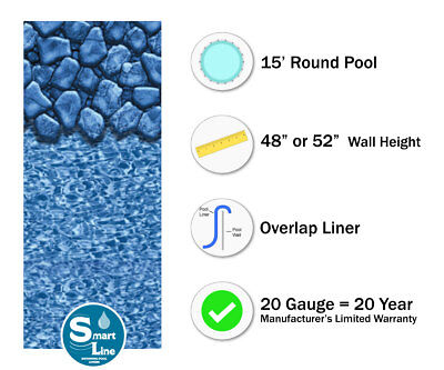 - 15' Round Overlap Boulder Swirl Above Ground Swimming Pool Liner - 20 Gauge