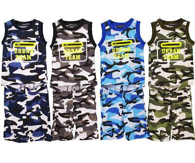 Boys Kids Camouflage Summer Vest T-Shirt Short Set - Kinder Army Outfits