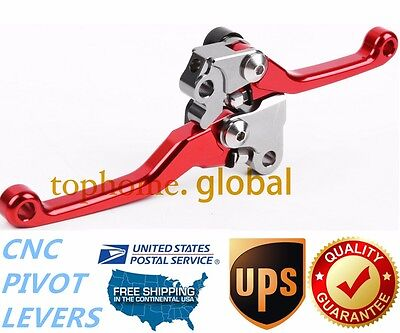 For HONDA CRF250R CRF450R 2004-2006 Clutch Brake Levers CNC Pivot Red US Stock