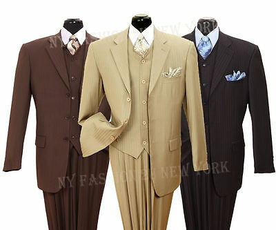 3 Piece Vested Wool Suit ( Men's 3 piece w/vest 3 button Striped Fancy Wool Feel Suit Style 5802V4 )