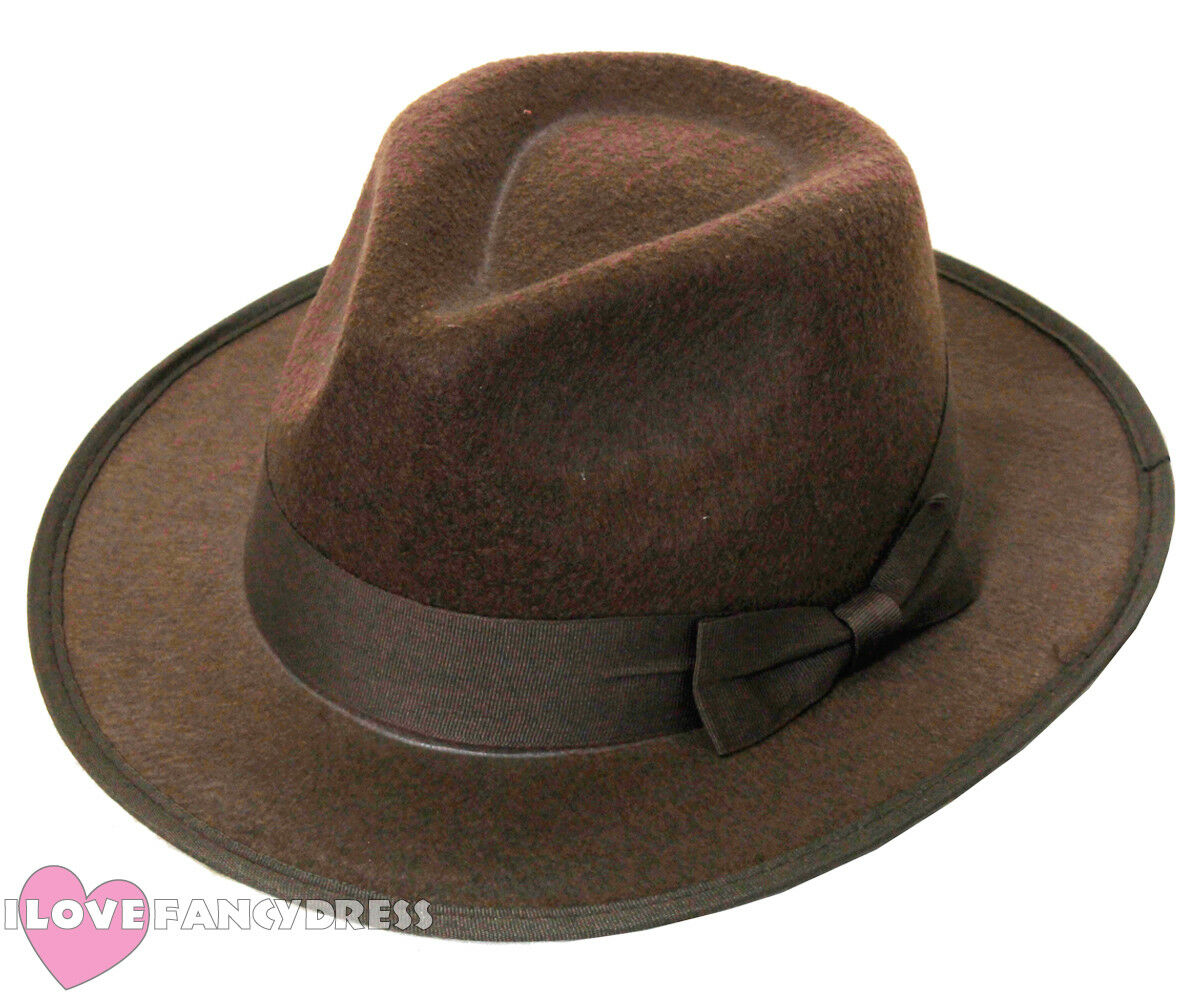 BROWN FELT FEDORA HAT WESTERN EXPLORER FANCY DRESS FILM CHARACTER TEMPLE  RAIDER da8a72637a3