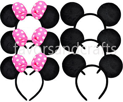 12 Mickey and Minnie Mouse Ears PINK Bows Headbands Favors Party Polka Dots - Mickey And Minnie Favors
