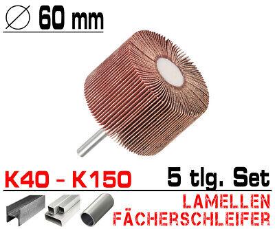 5 tlg Lamellen Fächer Schleifer Schleiffächer Schleifmop Set Ø 60mm / K40 - K150