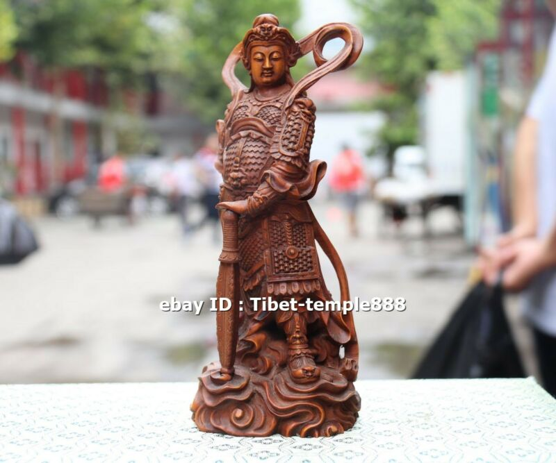 18 CM Chinese Boxwood Handwork Guardian of Buddhism Wei Tuo warrior sculpture