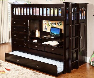 Espresso All In One Loft Bed - HOUSTON ONLY!