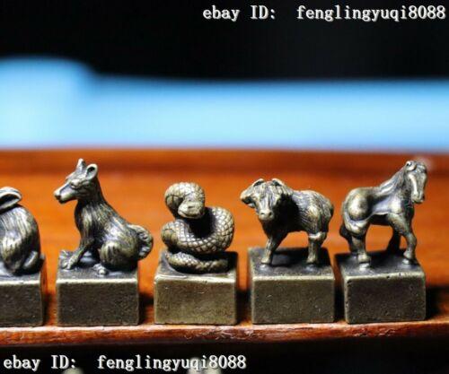 Bronze Chinese Zodiac Animal Rat Mice Ox Tiger Goat Seal Stamp Signet Set M012