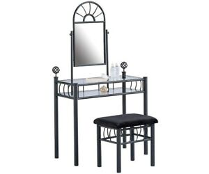 Black Hutch (vanity) with glass shelving, mirror, and stool