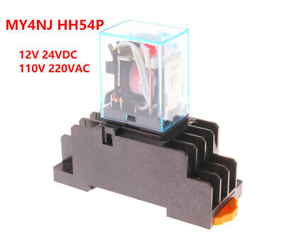 12v Ac Dpdt Relay - Miniature Relay 4DPDT 14Pins Power Relay MY4NJ HH52P DC12V AC220V With Socket