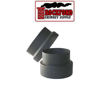 Black Single Wall Chimney Stove Pipe Inceaser/Reducer Adapter