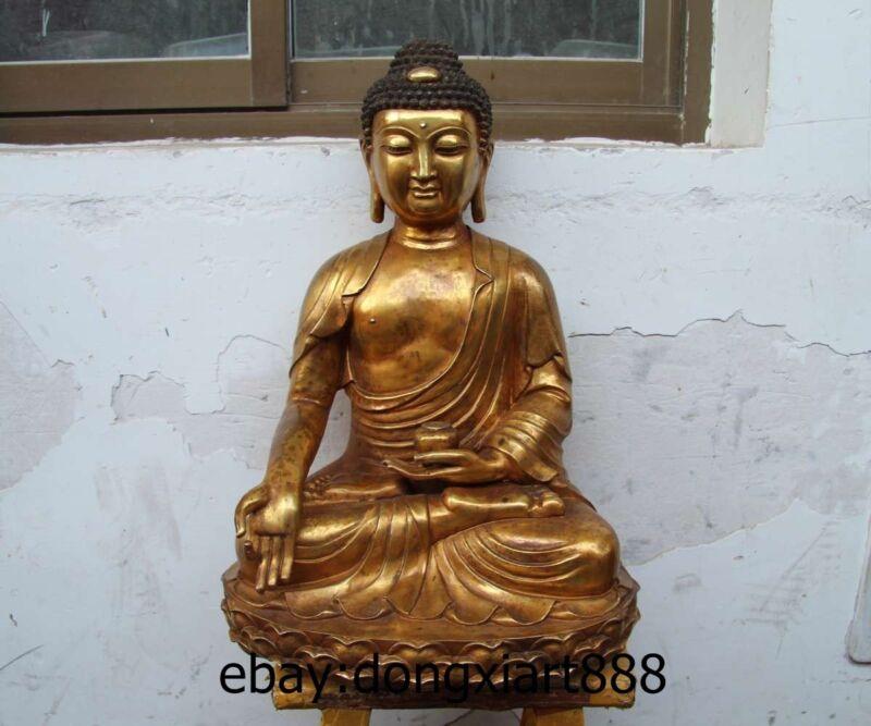 """23"""" Tibet Bronze Gild Lotus Gautama Shakyamuni Tathagata Sakyamuni Buddha Statue"""