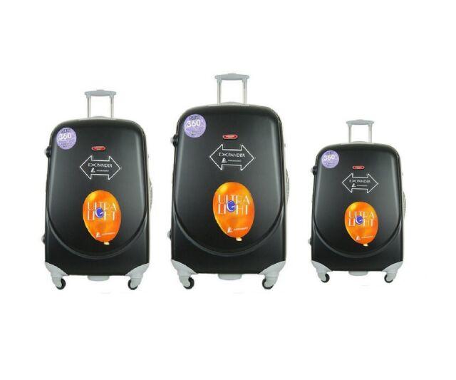 3 Pcs Luggage Travel Set Bag ABS PC Trolley Suitcase Black   eBay