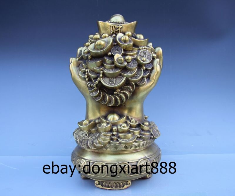 Chinese Copper Brass Fengshui Wealth Double Hand treasure bowl saving pot Statue
