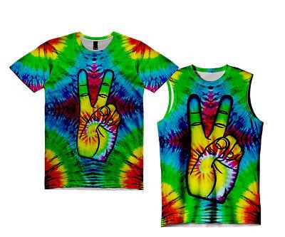 Frieden, Liebe T-shirts (Neu Herren Batik Liebe Frieden Sub Kunst T-Shirt Tank Top UK Reg Passform &)