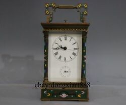 8 Europe Retro Bronze Cloisonne Mechanical Two Index Dial Clockwork Table Clock