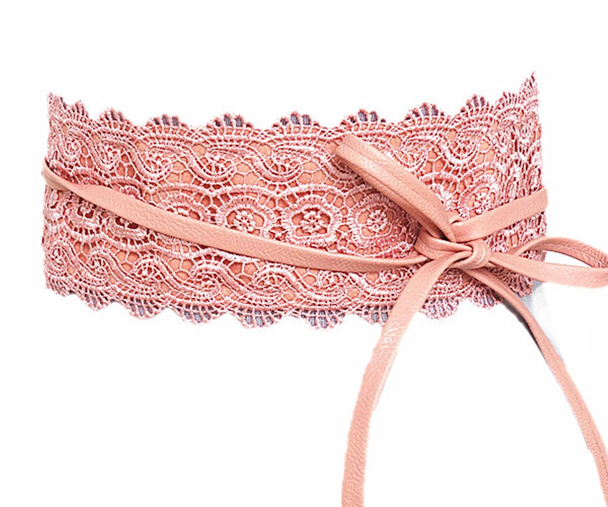 Damen Gürtel Spitze Rosa Taillengürtel Wickelgürtel Bindegürtel SA-46