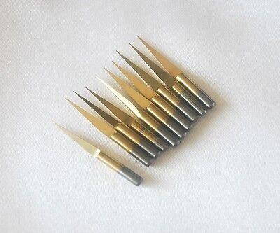 10pcs Titanium Coated 15 Degree 0.1mm Carbide Pcb Engraving Cnc Bit Router Tool