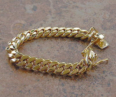 "Solid 14K Gold Miami Men's Cuban Curb Link Bracelet 8"" Heavy 67.9 Grams 10mm"