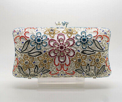 Elegant White Multi Color Crystal Glass Rhinestone Clutch Evening Bag! (Crystal Evening Clutch)