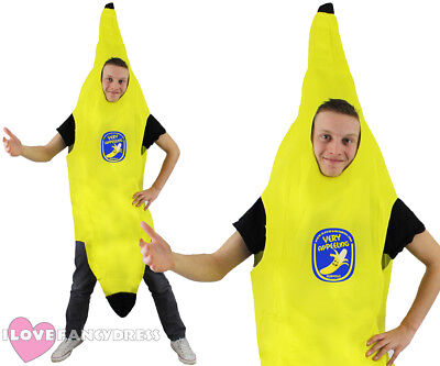 ADULT BANANA COSTUME FUNNY FRUIT FANCY DRESS HEN STAG NIGHT PARTY SUIT UNISEX - Adult Banana Suit