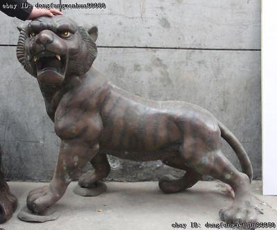 Old China Copper Bronze Feline Animals Ferocious Up Hill Zodiac Tiger Art Statue