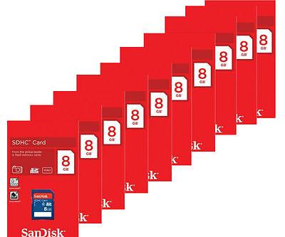 Lot of 10 x SanDisk 8GB SDHC Class 4 SD Flash Memory Card Camera SDSDB-008G-B35