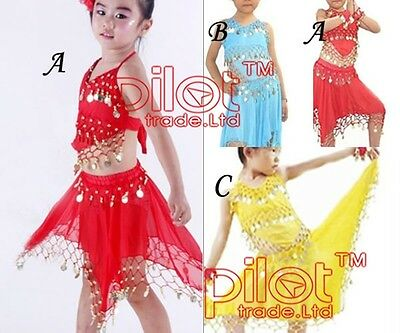 Kids Girls Latin Salsa Tango Sequin Party Dance Dress Skirts Sets Outfits 2-8 Y