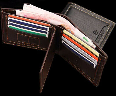 Men's Bifold Leather Wallet +Gift Box ID Credit Sim Card Holder Billfold Clutch