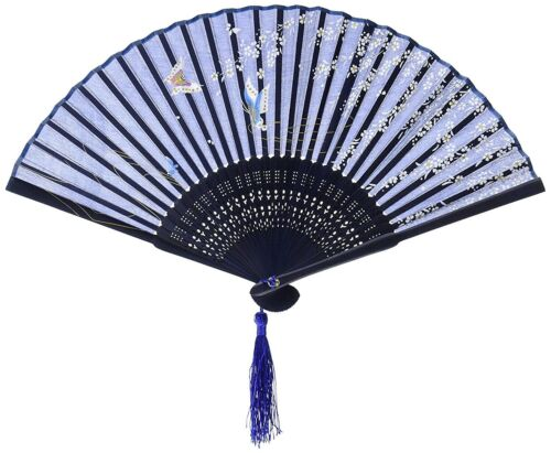 White Cherry Blossom and Butterfly Japanese Silk Fan with Tassel