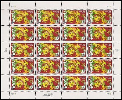 2000 YEAR OF THE DRAGON Chinese Lunar Happy New Year Sheet 20 x 33¢ Stamps #3370
