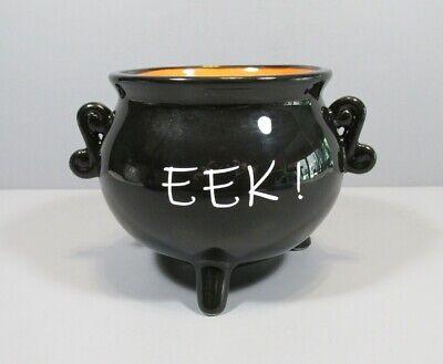 "Newclassic Enterprise Black and Orange Ceramic ""EEK!"" Cauldron Candy Dish"