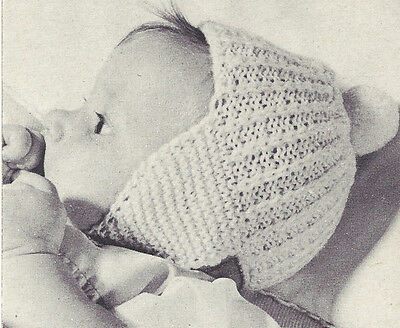 - Vintage Knitting PATTERN to make Baby Ear Warmer Hat Ear Flap Cap Beanie