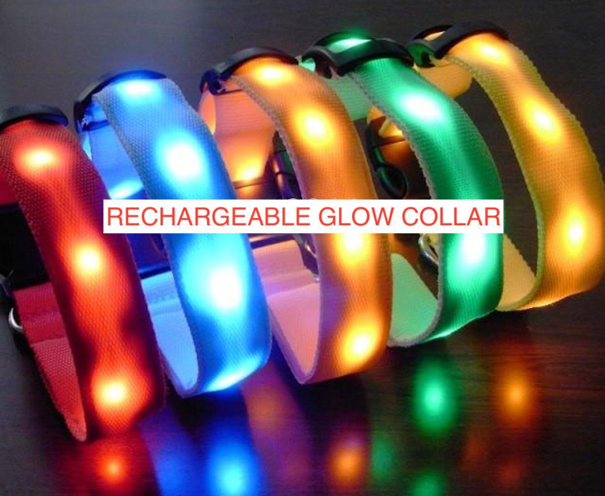 RECHARGEABLE LED PET GLOW COLLAR dog cat safety neck harness