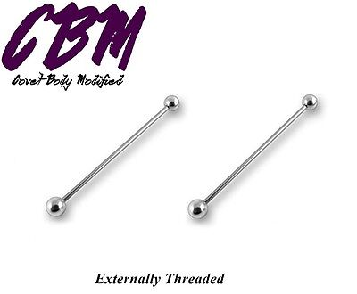 - 14g Industrial Straight Barbell Steel Post Labret Tongue Tragus Stud