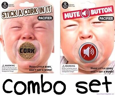 COMBO - Mute Button & Cork Funny Pacifier Joke Set - BigMouth (Cork Combo)