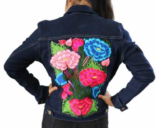 Handmade Womens Mexican Embroidered Denim Jean Jacket Medium Large Blue Floral