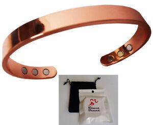 Pure Copper Magnetic Bracelet Arthritis Therapy Energy Men Women W Bonus Pouch