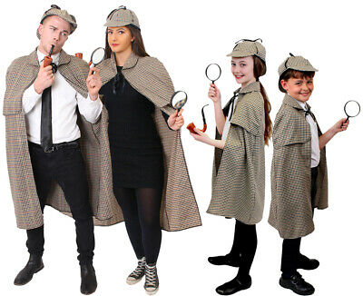 Sherlock Holmes Cape (ADULT OR CHILD SHERLOCK HOLMES COSTUME CAPE HAT DETECTIVE BOOK DAY FANCY)