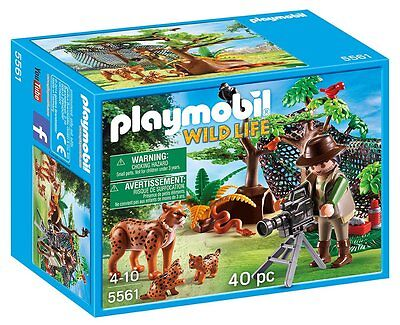 Playmobil 5561 Wild Life Lynx Family with Cameraman New Toy Zoo Ages 4 Boys Gift