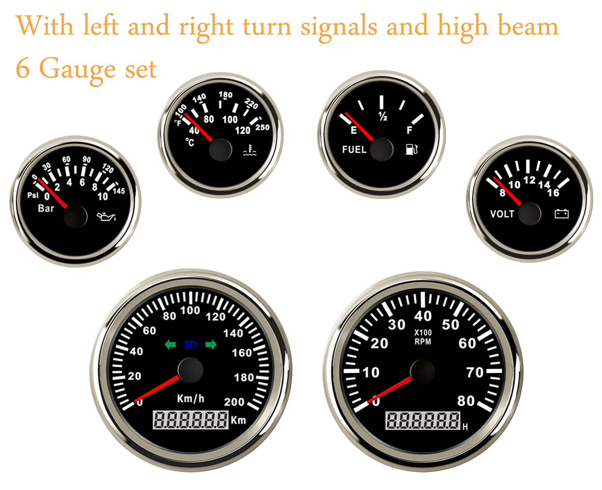 6 Gauge Set,Speedometer,Tachometer,Fuel,Water Temp,Volt,Oil,7 Colors LED 200km//h