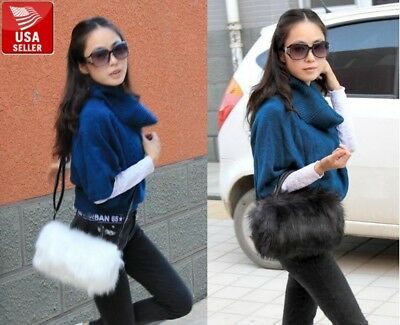 Faux Fur Furry Women Purse Crossbody Shoulder Bag Tote Cute w/ Strap and Handles - Cute Tote Bags