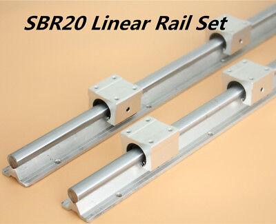 2x Shaft Sbr20 L200-1500mm Linear Rail Fully Supported 4pcs Sbr20uu Bearing