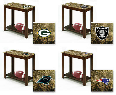 FC695 NFL TEAM THEME CAPPUCCINO ESPRESSO WOOD FAUX MARBLE END TABLE NIGHT STAND (Nfl Theme)