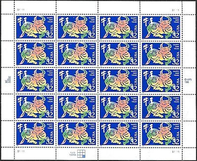 1997 YEAR OF THE OX Chinese Lunar Happy New Year MNH Sheet 20 x 32¢ Stamps #3120