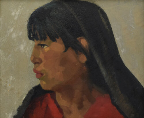 "Attributed to Joseph Fleck - Taos Girl - Oil on Panel 10"" x 12"""