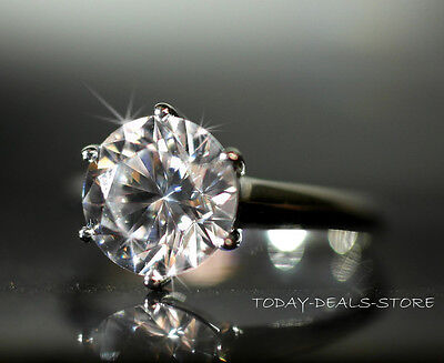 SOLITAIRE RING 2 CARAT ENGAGEMENT REAL 14K WHITE GOLD anniversary