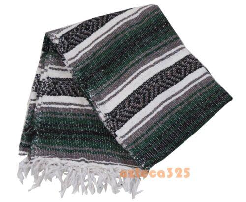 "Authentic GREEN Mexican Falsa Blanket Hand Woven Yoga Mat Blanket 72"" x 49"""