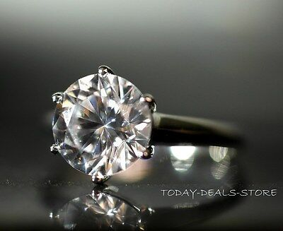 4 CT VVS/D ROUND CUT SOLITAIRE ENGAGEMENT RING 14K WHITE REAL GENUINE SOLID GOLD