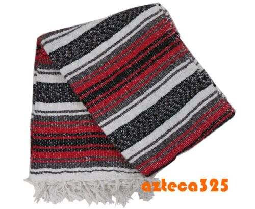 """Authentic RED Mexican Falsa Blanket Hand Woven Yoga Mat Blanket 72"""" x 49"""""""